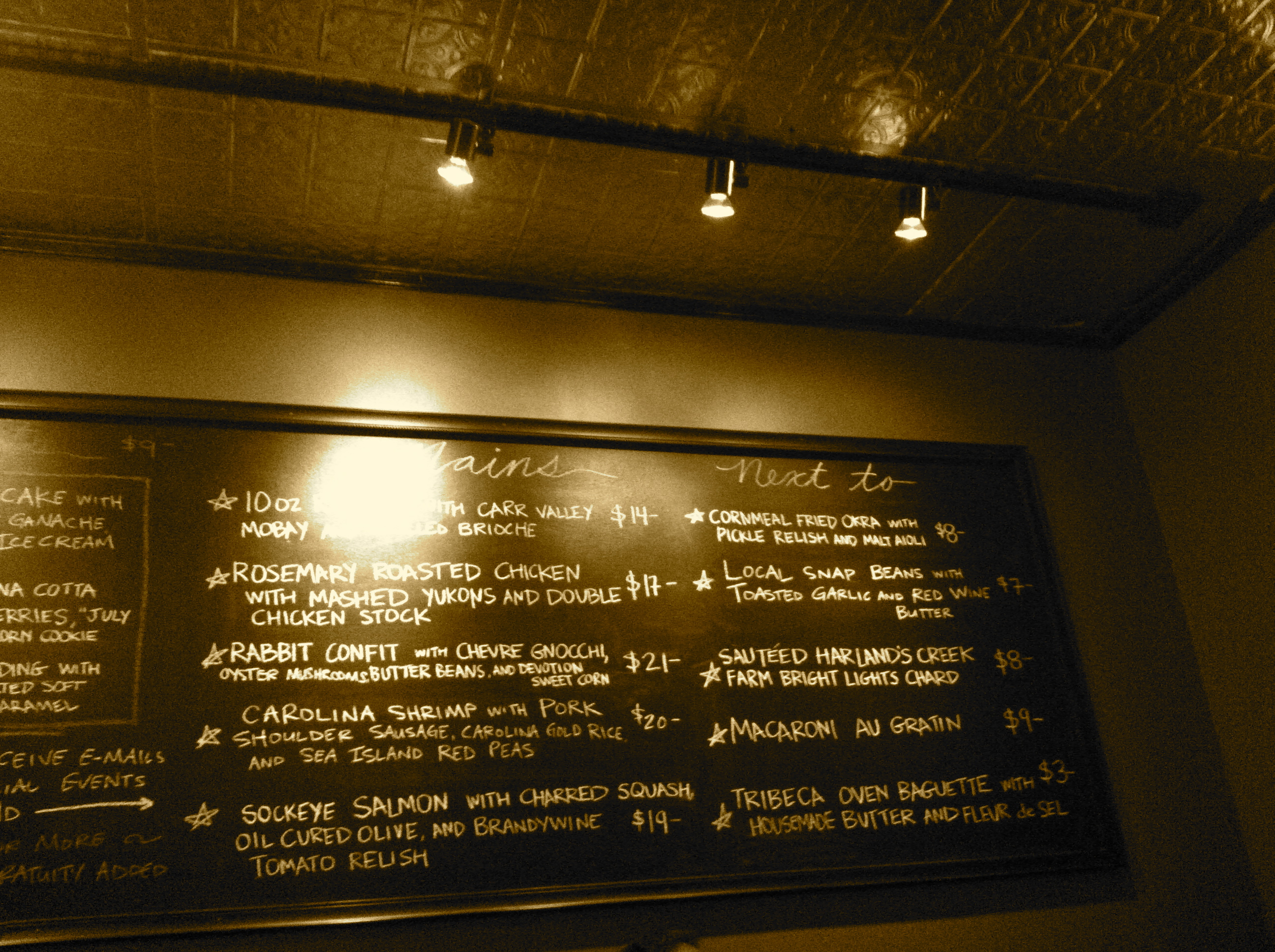 Blackboard Menu At Pooles Diner