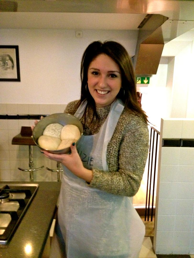 Mackenzie modeling her freshly risen dough