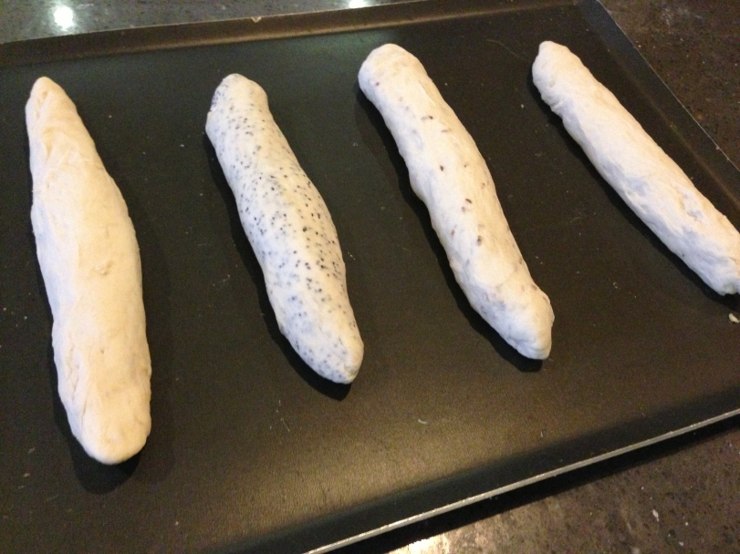 My baguette dough rolled and ready to cook