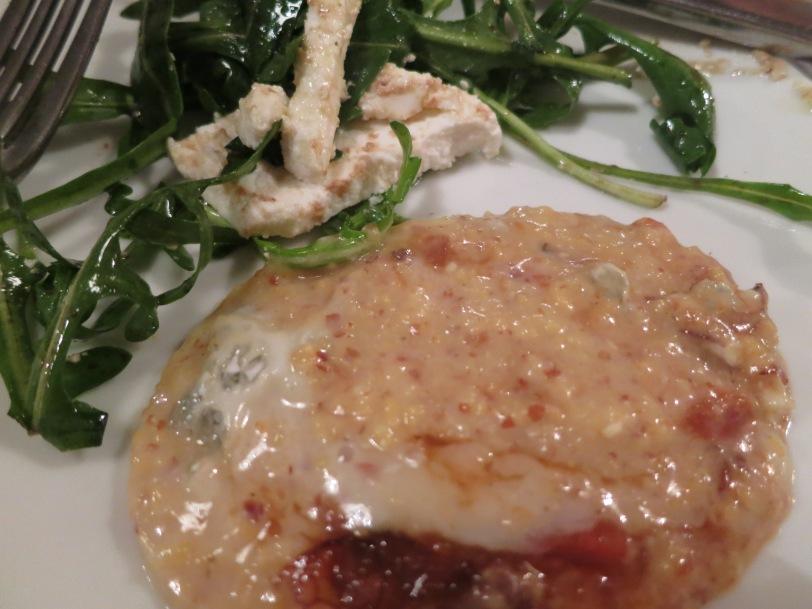 Polenta and salad to share