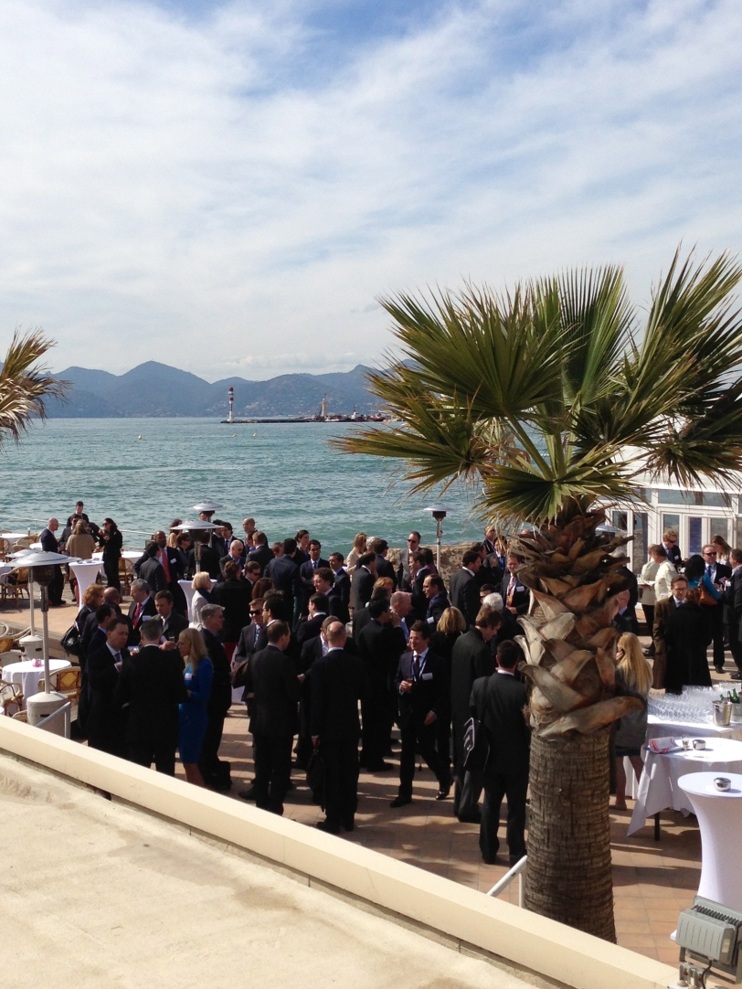Never have I ever seen so many black suits by the beach. Only in Cannes!